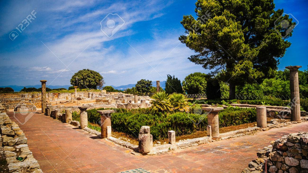 Greco-Roman archaeological sites of Ampurias (Empuries) in the Gulf of Roses, Catalonia, Spain. - 38730101