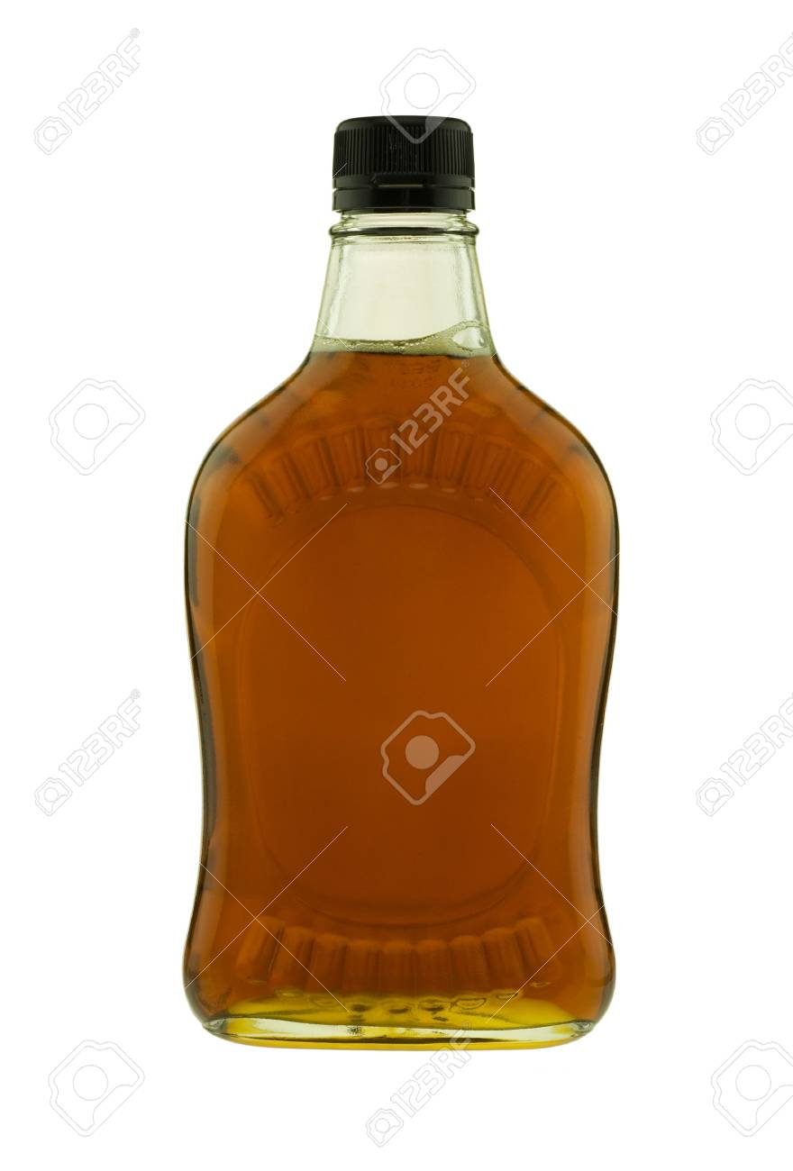 57bf8966be4 Image of jar of pure maple syrup isolated on white back ground. Stock Photo  -