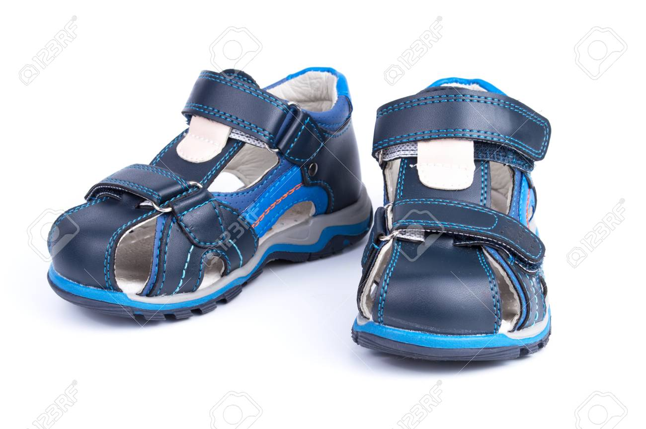 c2caa1b02 pair of blue baby shoes isolated on white background Stock Photo - 99746715