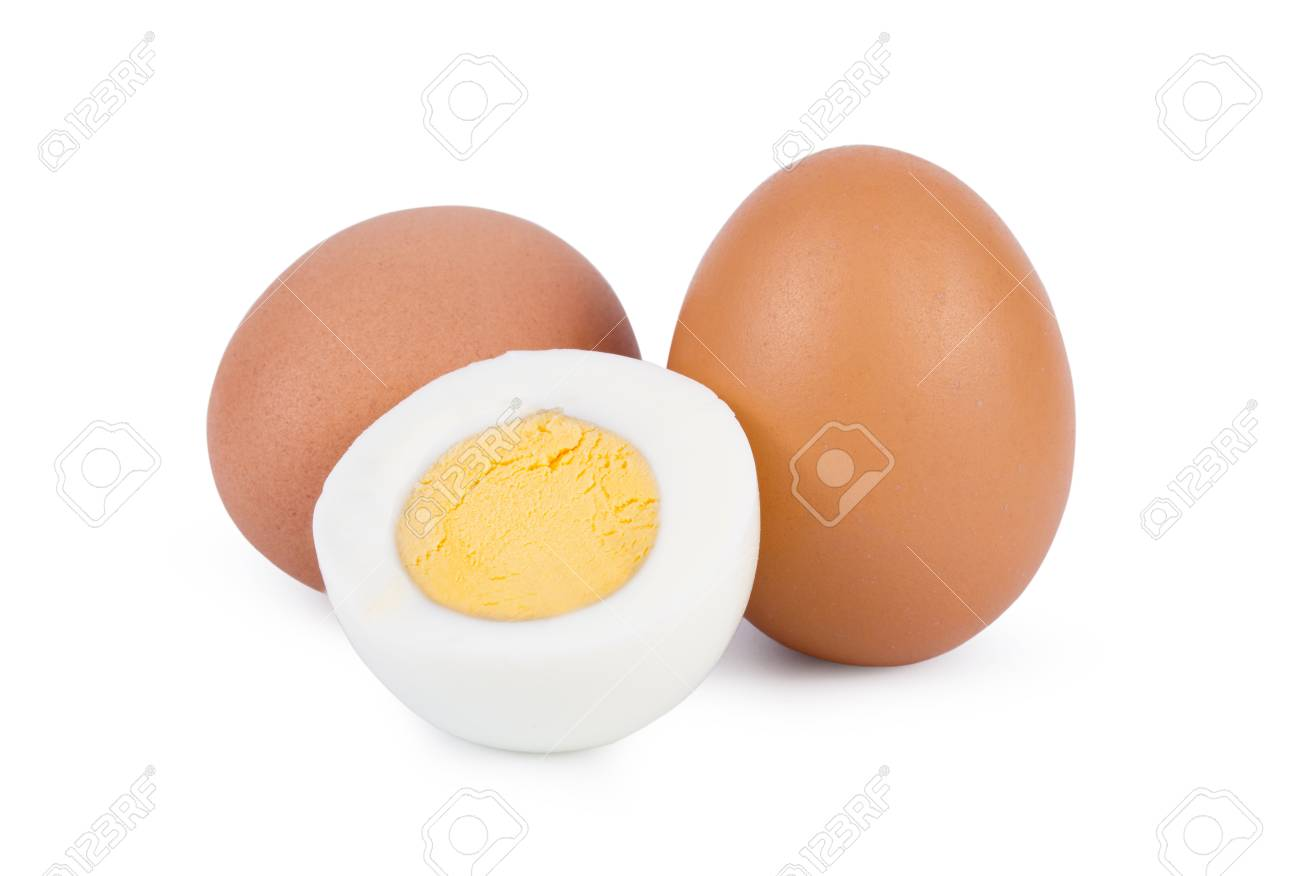 boiled with whole brown chicken eggs isolated on white background - 102978484