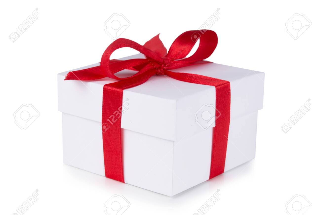 White box, bow and red ribbon isolated on white background - 138695653