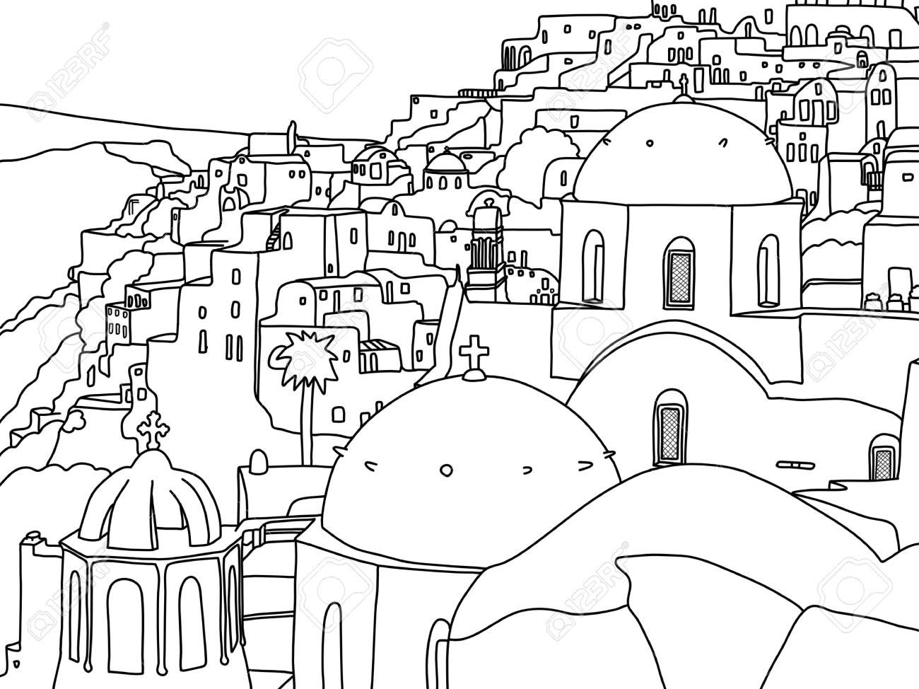 Greece Santorini Island Illustration - 121511127