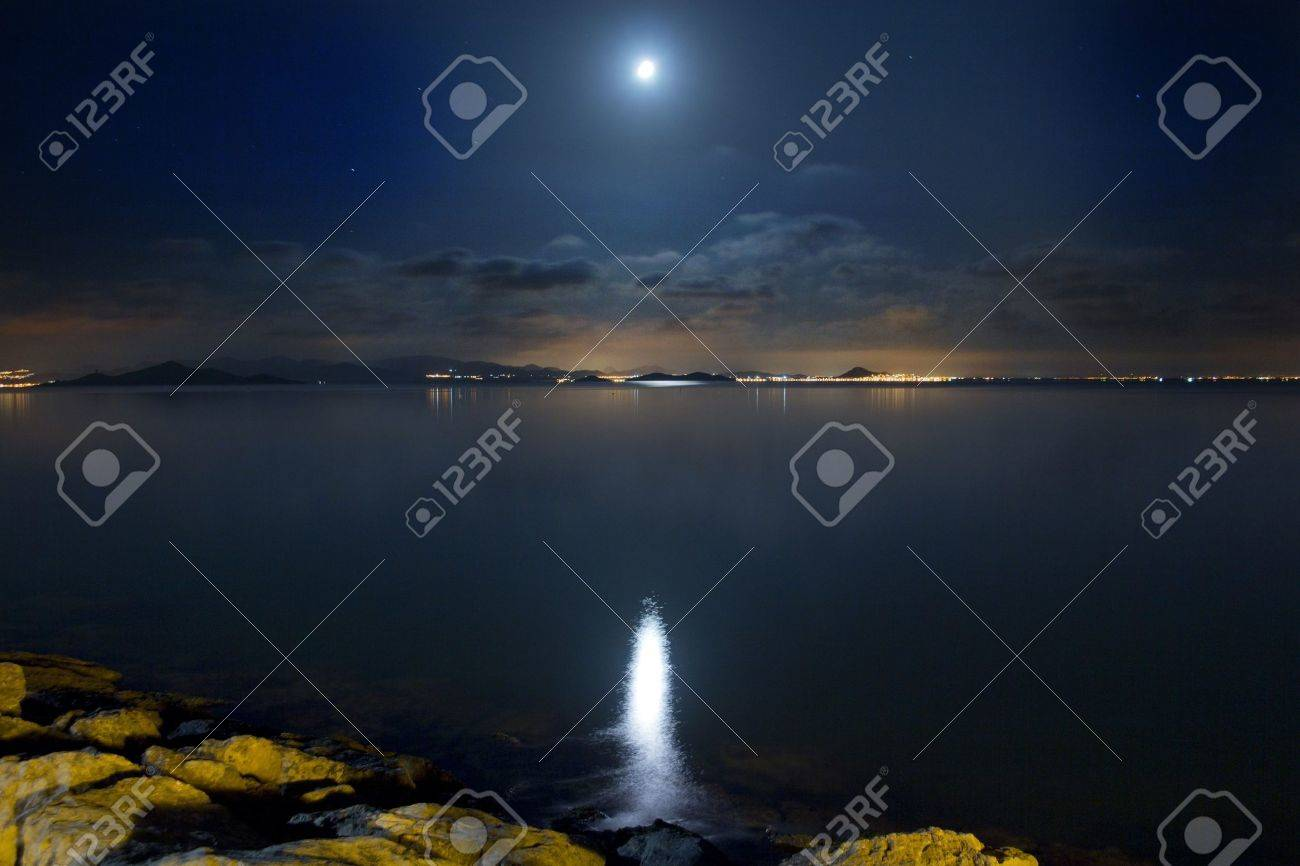 Night Scene beautiful sea and clouds illuminated by the moon - 11769228
