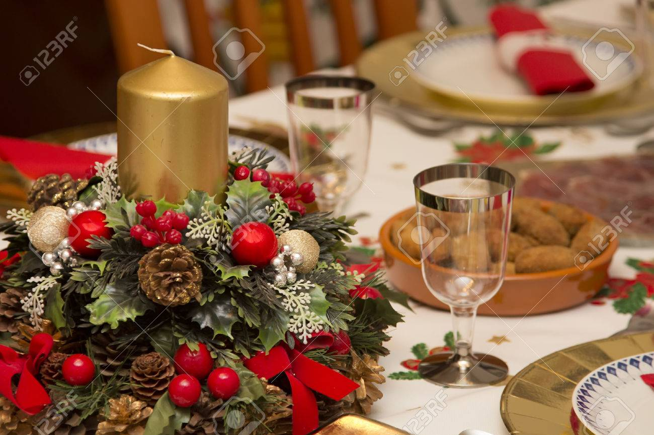 Elegant christmas table decorations - Stock Photo Elegant Christmas Table Decorated With Typical And Colorful Objects