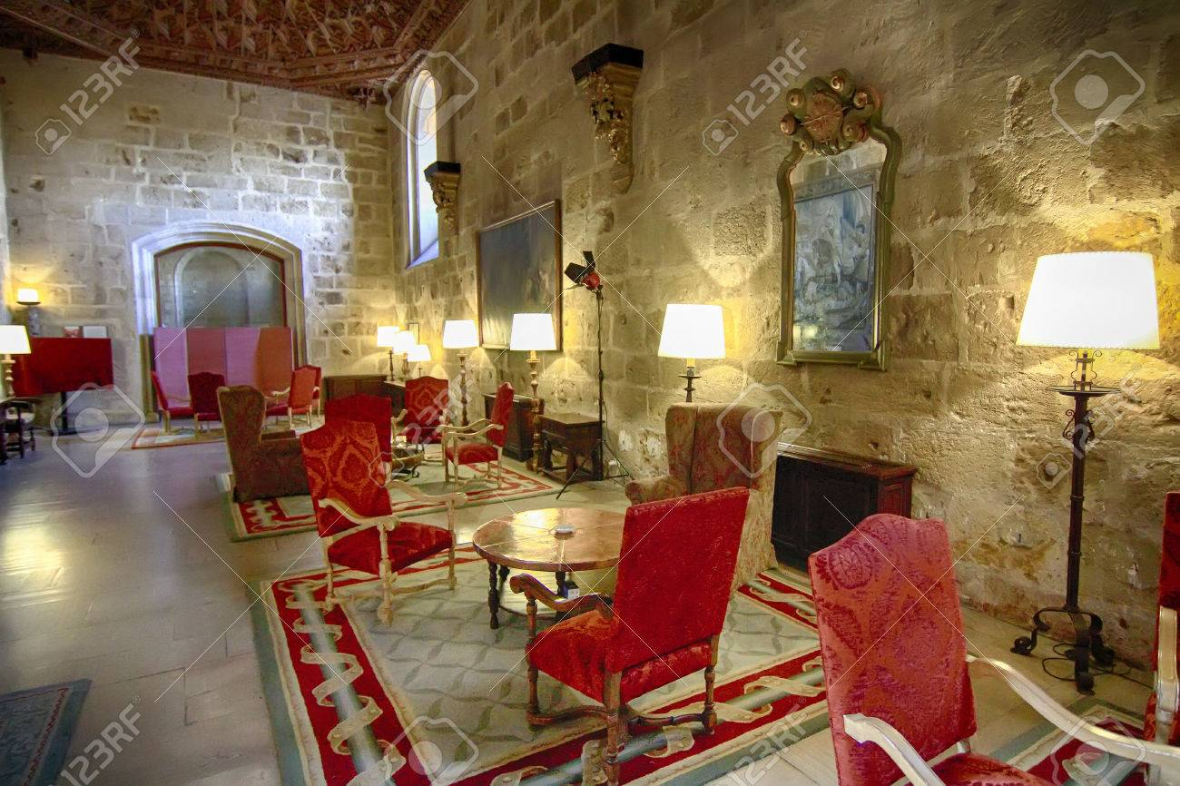 Luxurious Living Room Of Medieval Castle Stock Photo