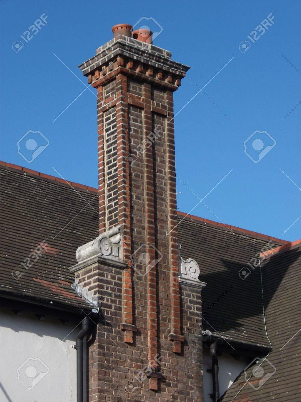 Decorative Brick Chimney Stock Photo   12163349