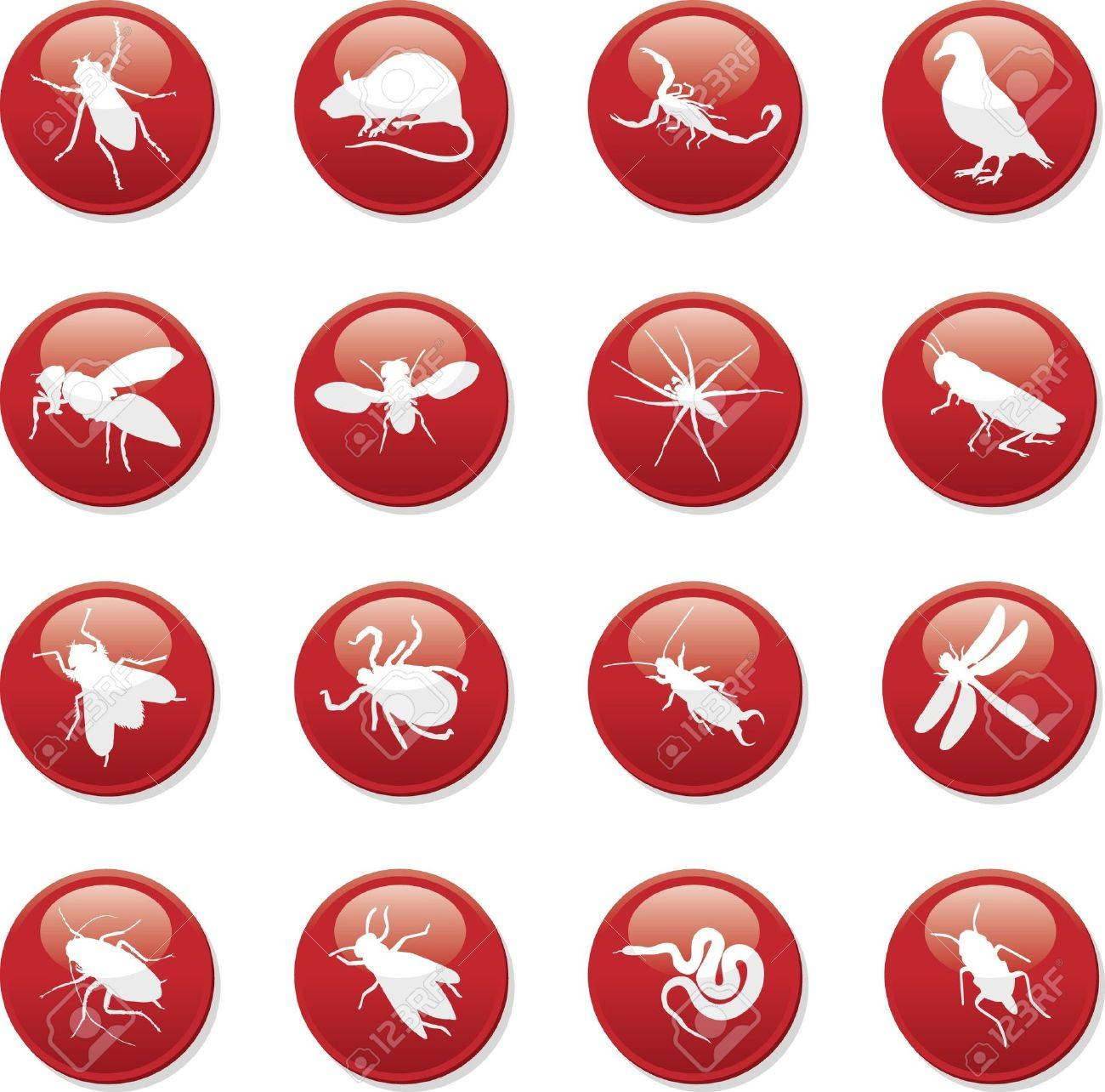 rodent and pest buttons Stock Vector - 7742270