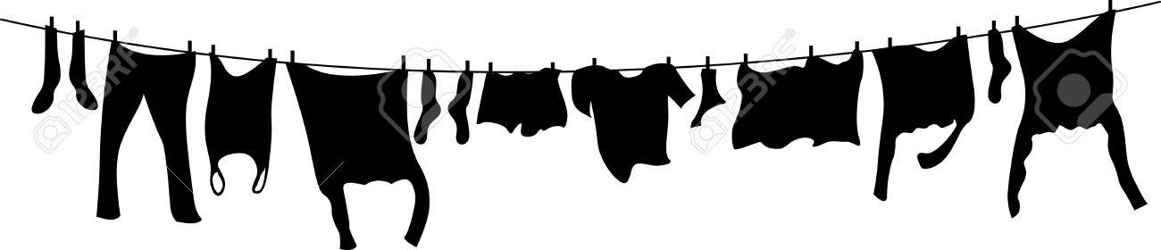 black and white washing line Stock Vector - 8267371