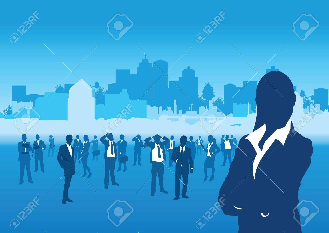 business people on a cityscape background Stock Vector - 11121088