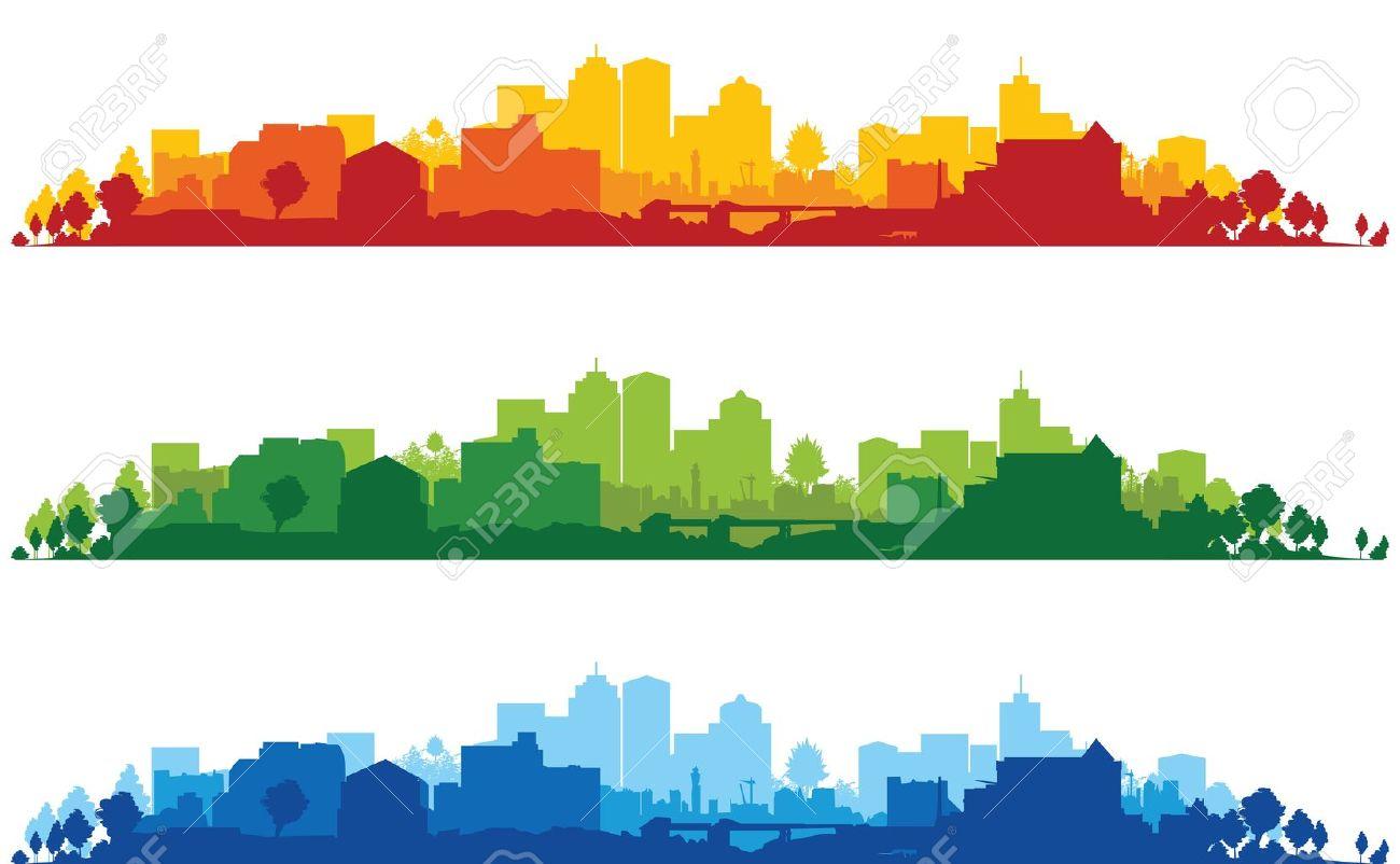 set of three cityscapes - 11178337