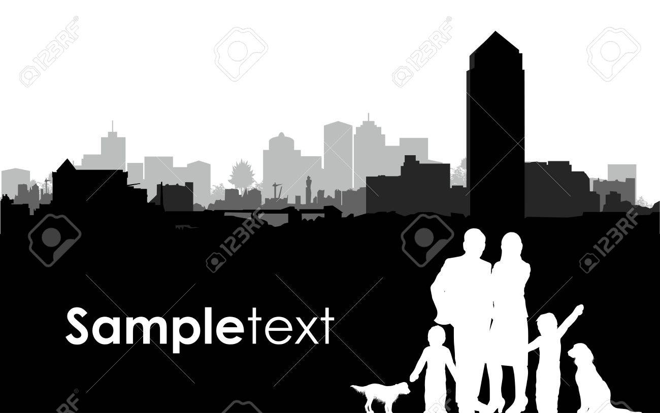 family silhouettes on a cityscape background Stock Vector - 15502546