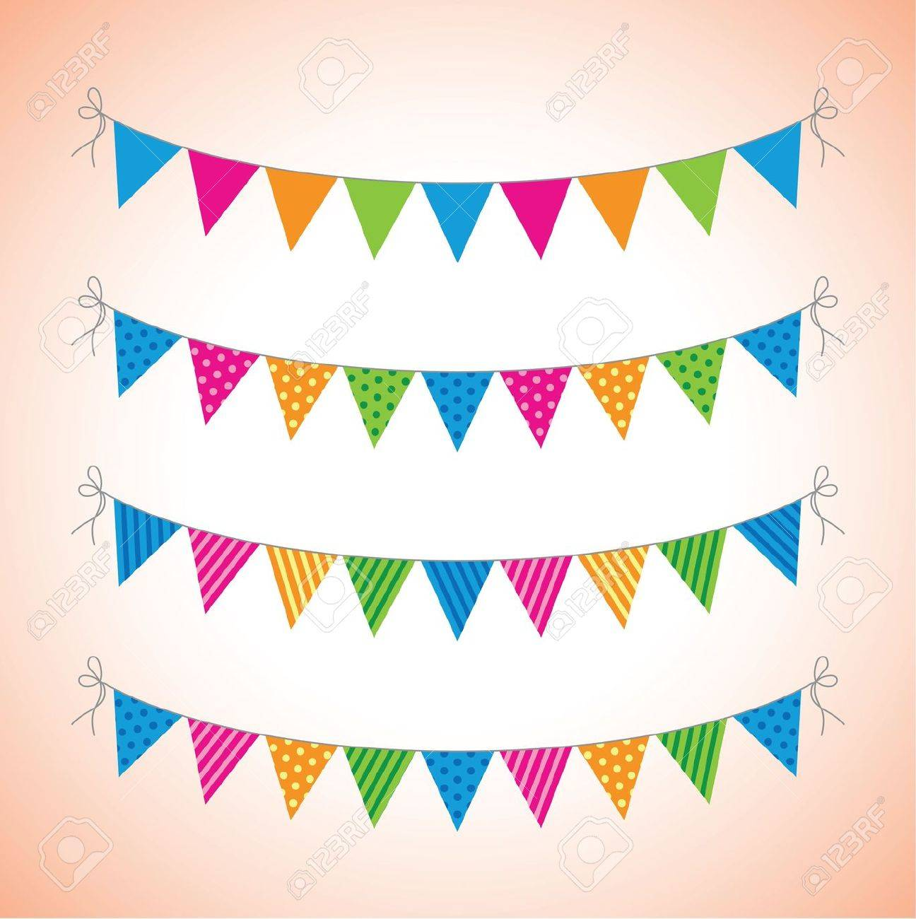 a set of four lines of bunting Stock Vector - 18989074
