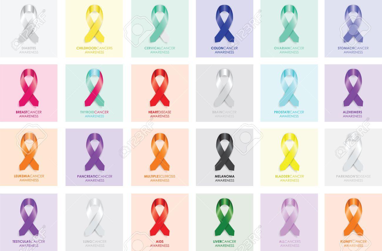 set of awareness ribbons - 34302883