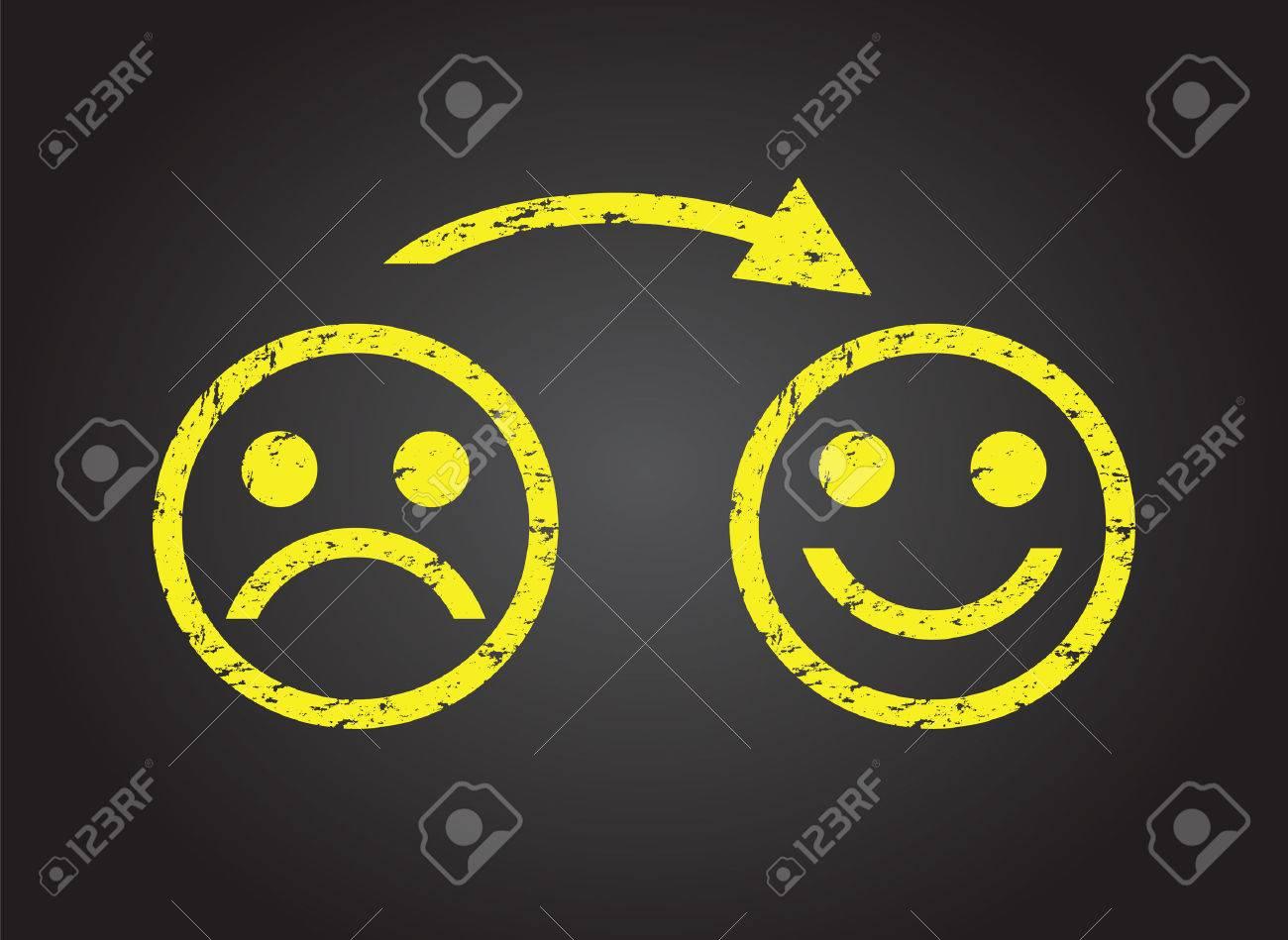 visage triste d'un visage heureux Banque d'images - 35523511
