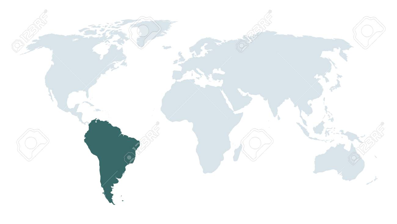 vector world map high lighting south america