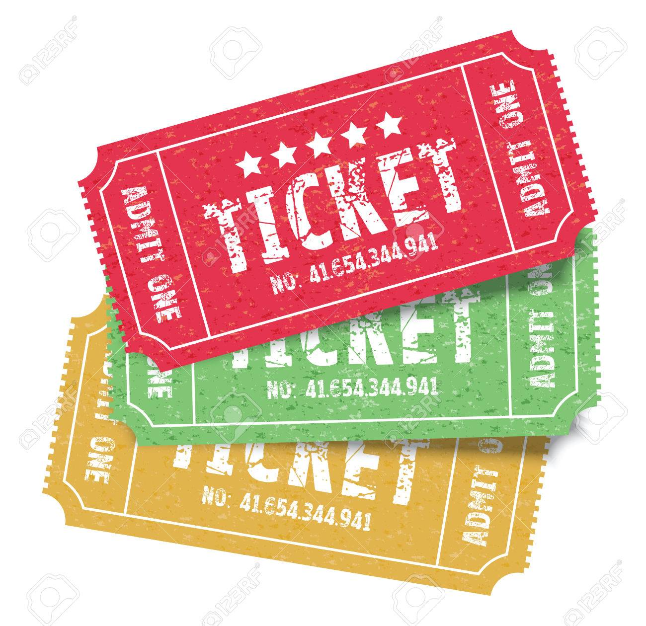 set of three colourful admit one tickets royalty free cliparts