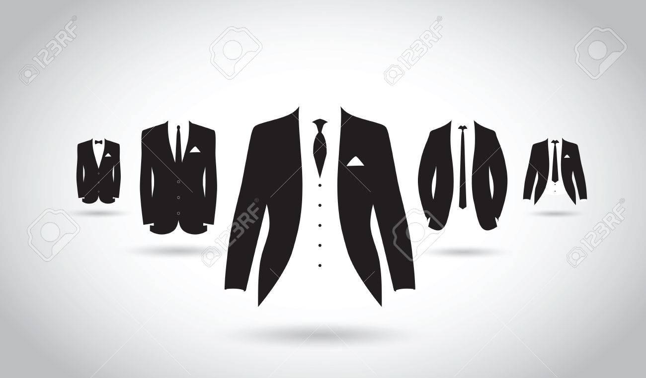 un ensemble de costumes noirs et blancs Banque d'images - 41179448
