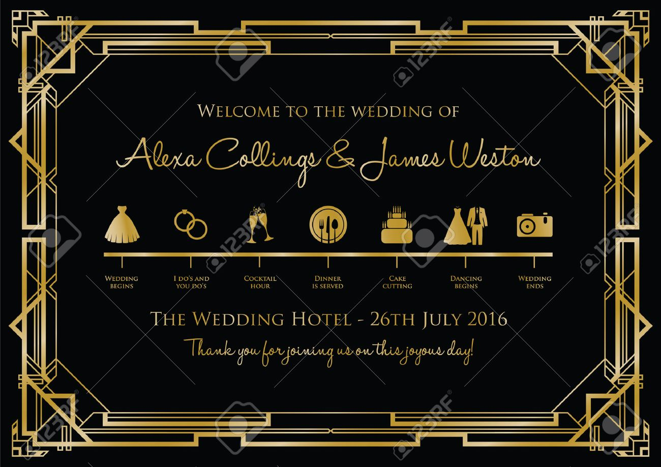 wedding timeline background gatsby royalty free cliparts vectors