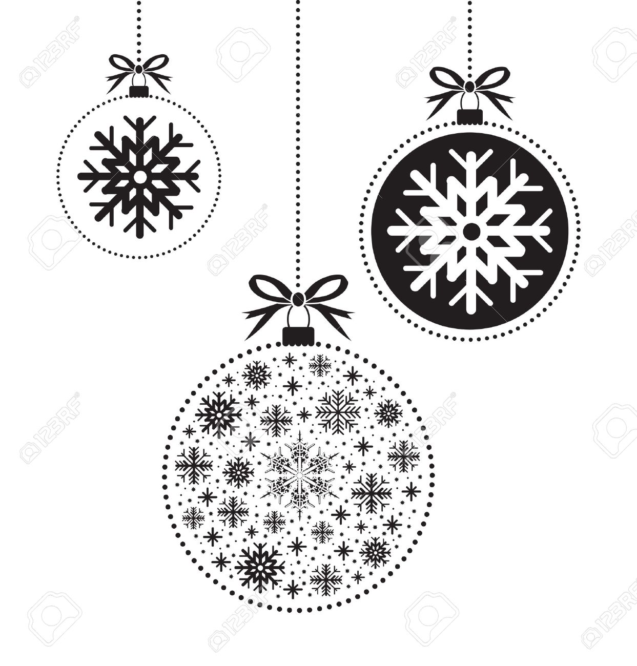 Christmas ornament black and white - Vector Black And White Christmas Ball Ball