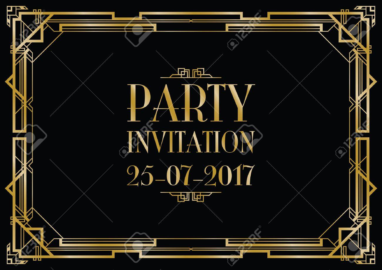 party invitation art deco background Banque d'images - 58013091