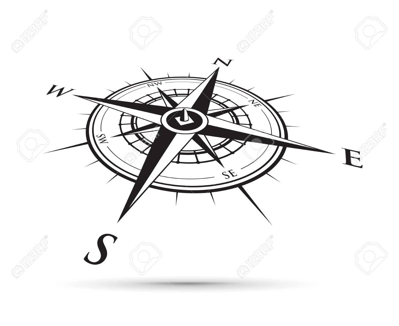 black compass illustration. - 94219933