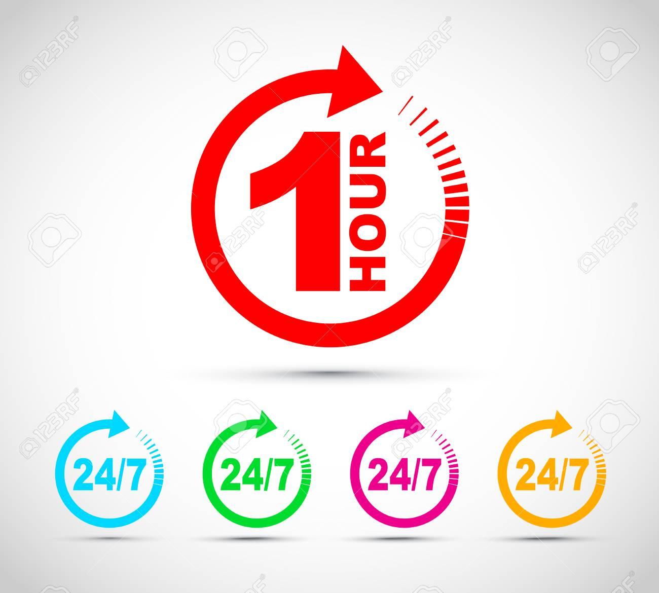 One hour arrow icon set - 115684029