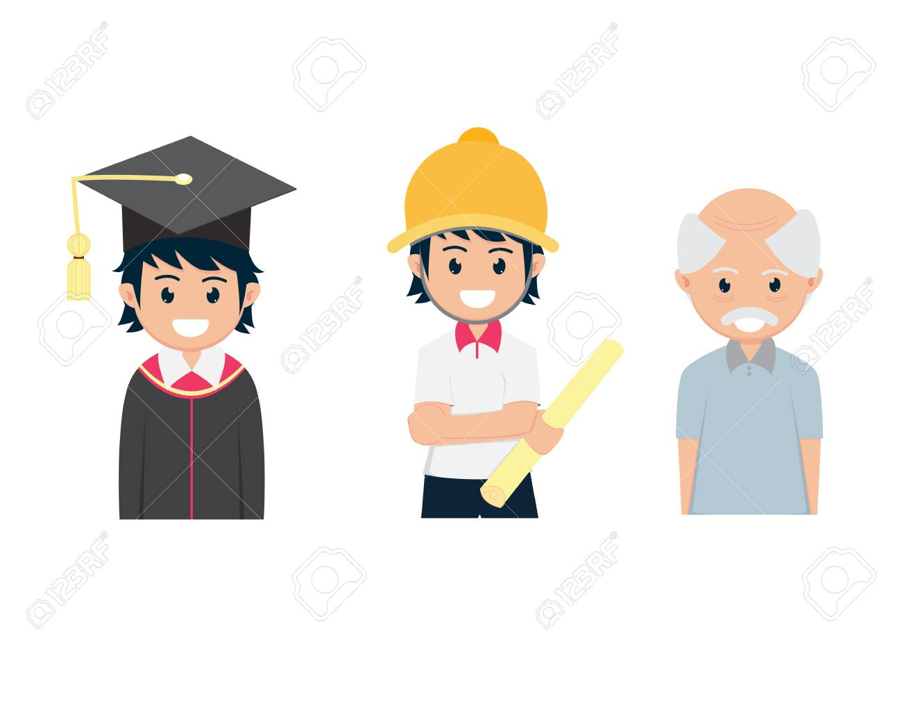 Three Flat Cartoon Graduated From College Engineering Work And Old
