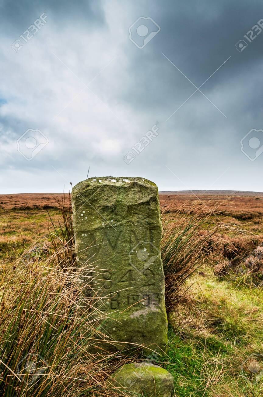 An ancient boundary marker. Ilkley moor - 135634959