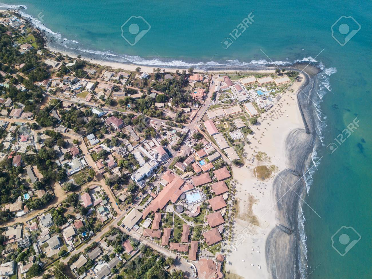 The Coastline Of Cape Point In Gambia Taken From A Drone Stock