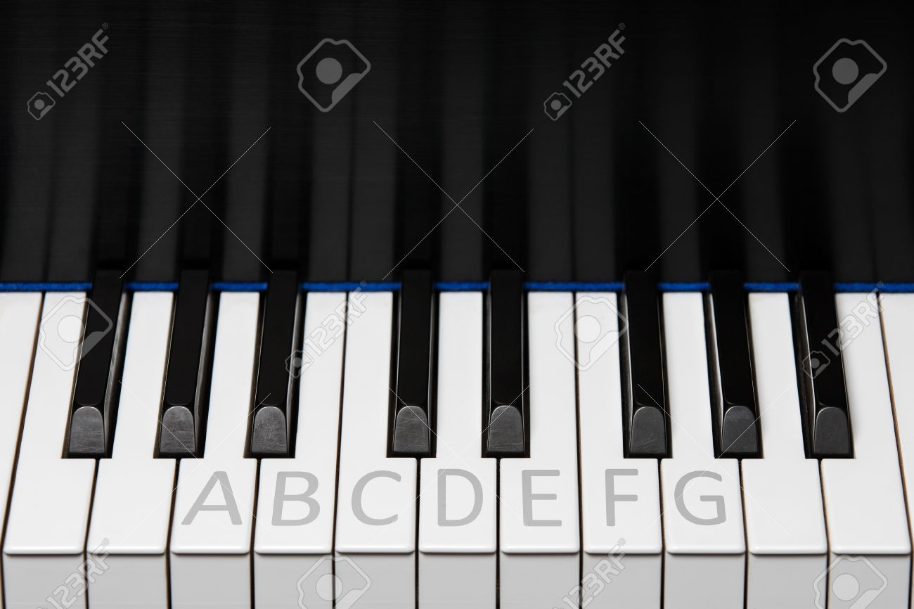 Sección De Teclado De Piano Que Muestra Una Octava Más Dos Llaves ...