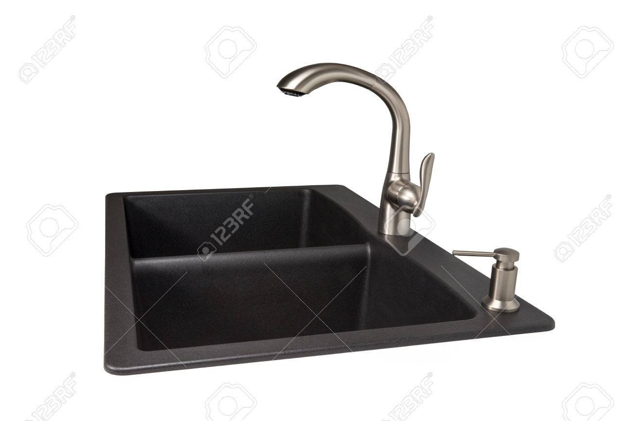 Modern kitchen sink made of black synthetic granite with brushed..