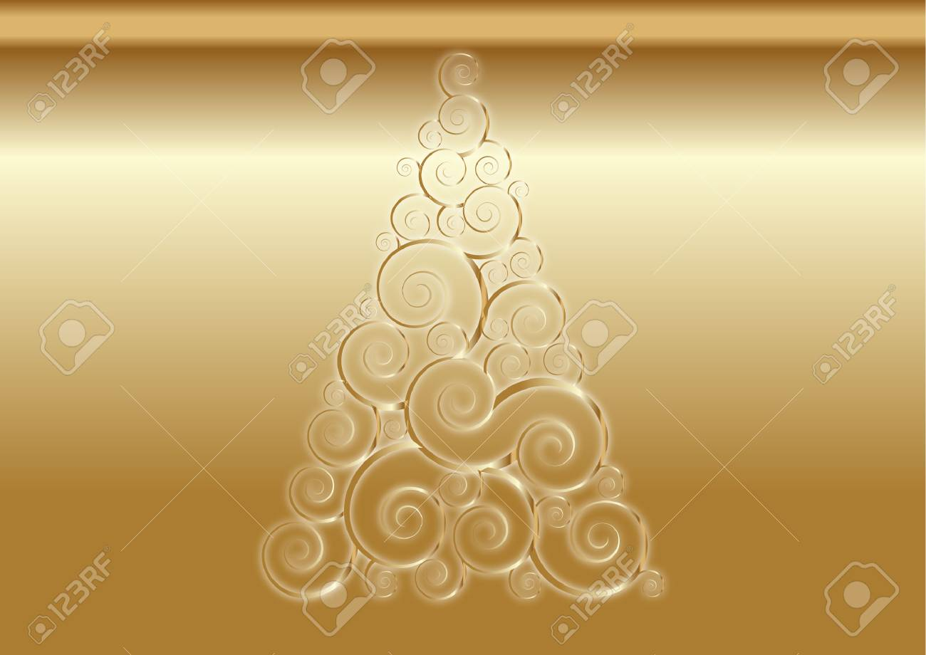 gold christmas tree background - 27672546