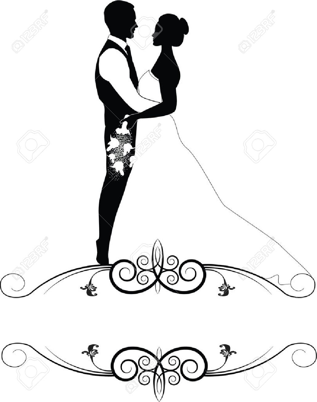 wedding couple in frame royalty free cliparts vectors and stock rh 123rf com wedding couple clipart black and white wedding couple clipart free