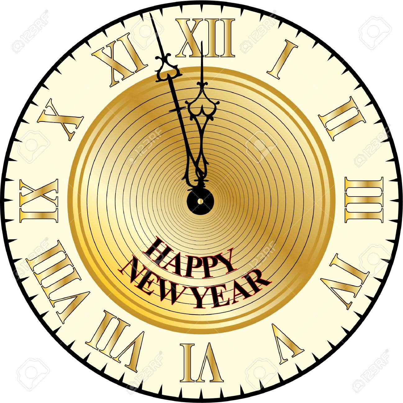happy new year clock stock vector 27981060