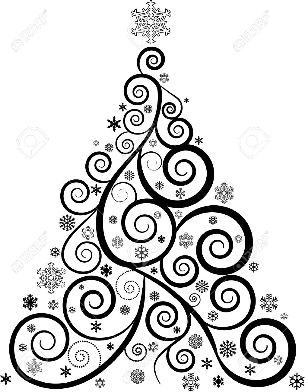 Elegant ORNATE SWIRL CHRISTMAS TREE AND SNOWFLAKES Stock Vector   29670530