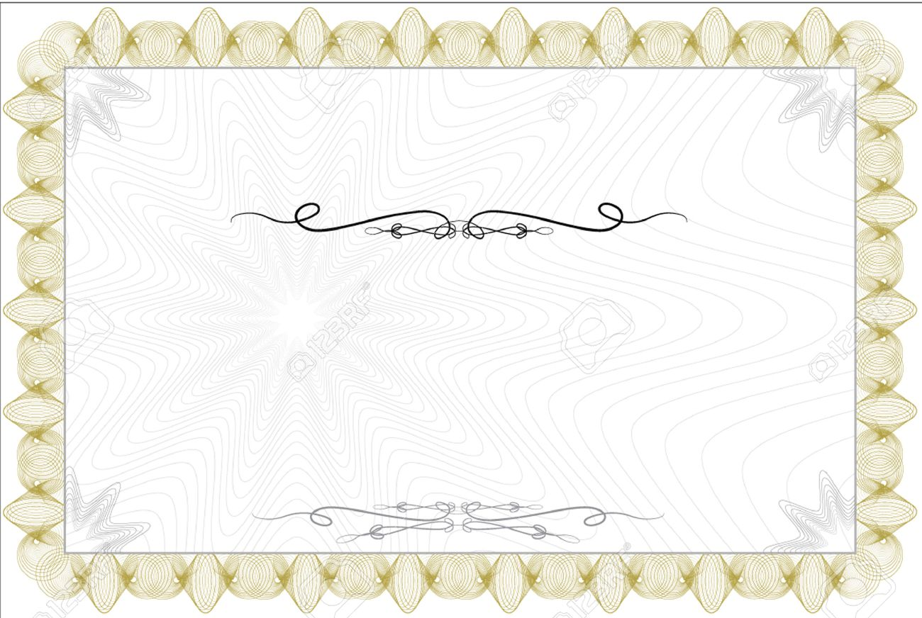 Blank Guilloche Style Certificate With Decorative Border Royalty ...
