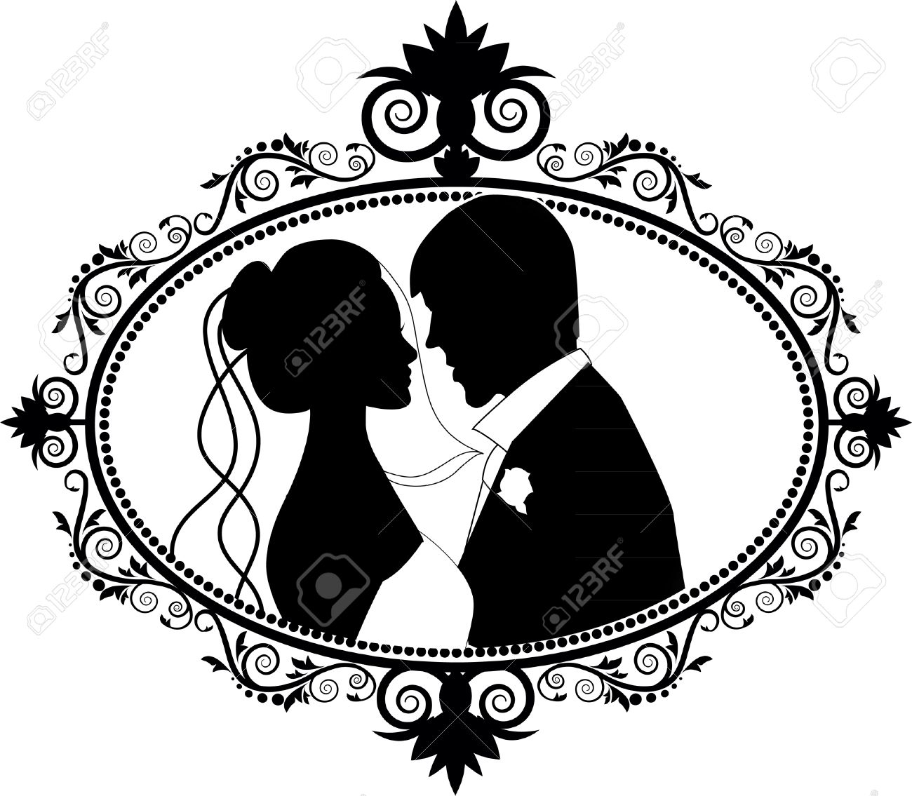 Wedding Couple Silhouettes Royalty Free Cliparts Vectors And Stock Rh 123rf Com