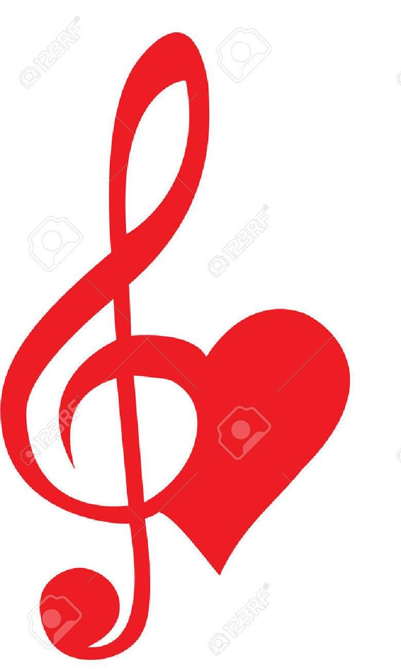 Coeur formé de clé de sol