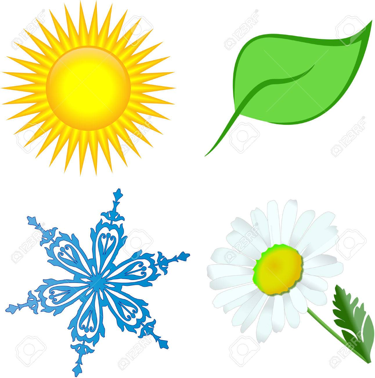 Sun Leaf Snow Flower Royalty Free Cliparts, Vectors, And Stock ...