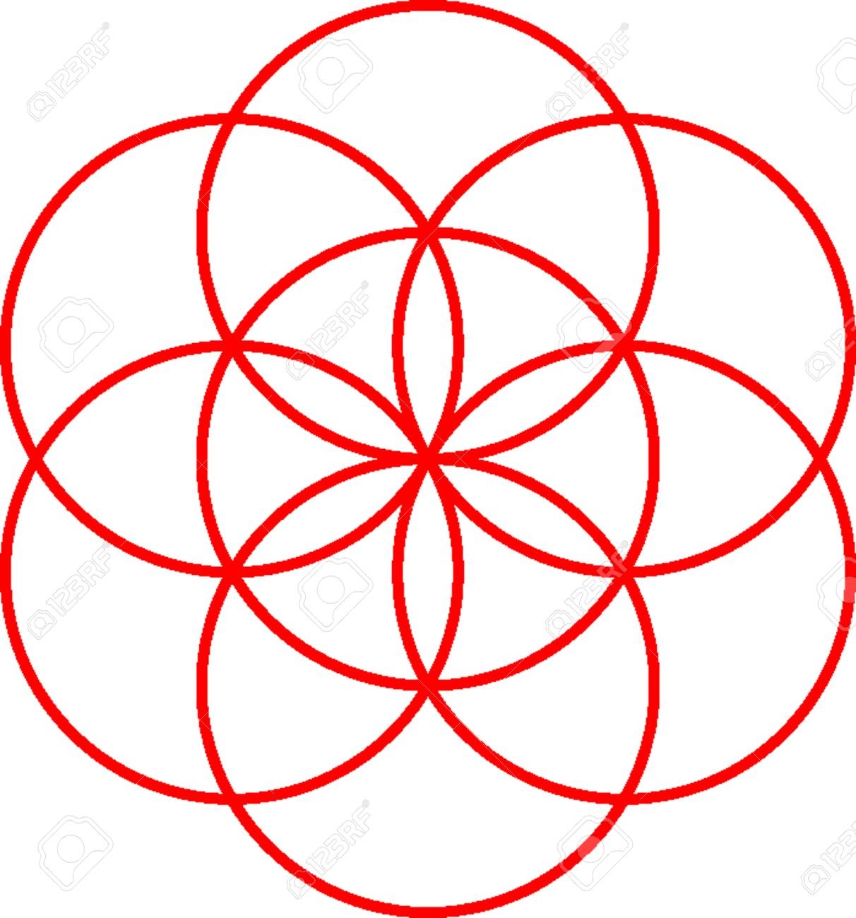 A seed of life symbol on white background