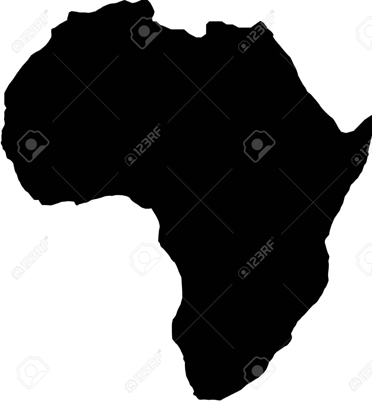 Africa Map Vector Art.Africa Map Silhouette Vector Illustration