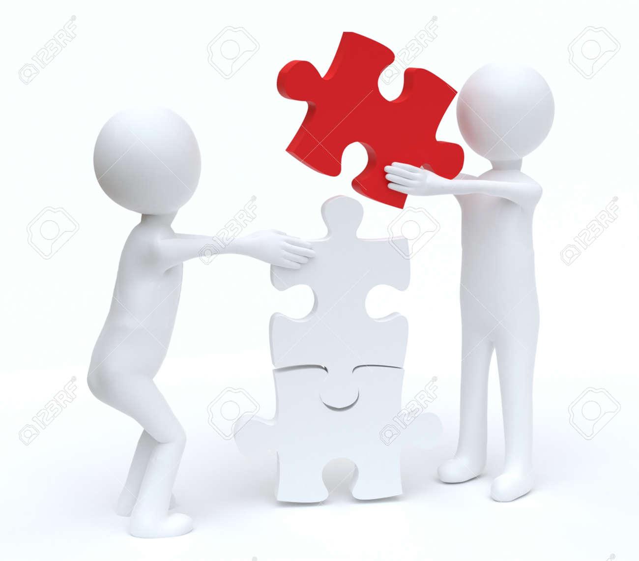 Teamwork men building Jigsaw puzzle - 165233563
