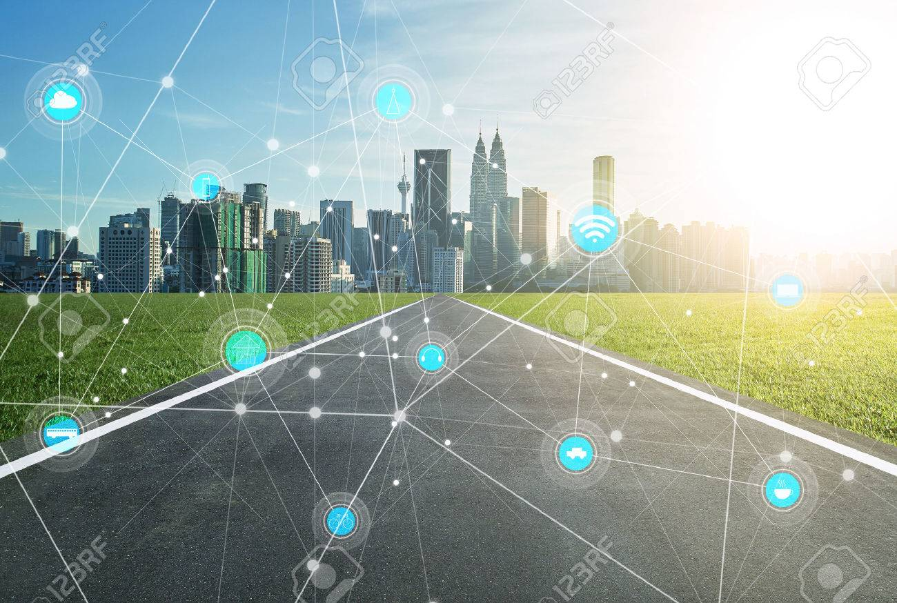 smart city and wireless communication network, abstract image visual, internet of things - 59063926