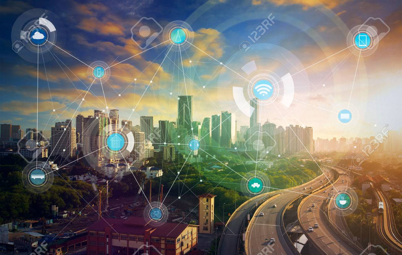 smart city and wireless communication network, abstract image visual, internet of things - 59063934