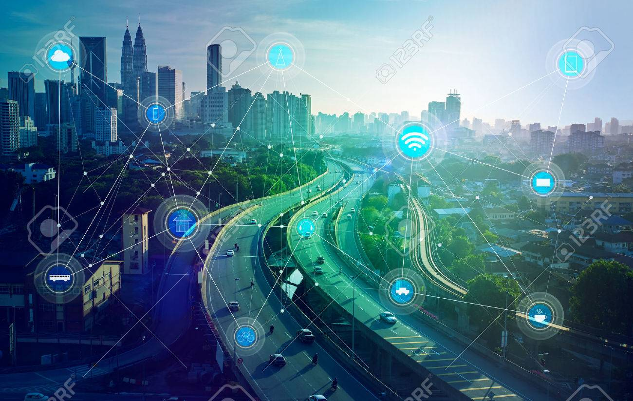 smart city and wireless communication network, abstract image visual, internet of things - 59063952