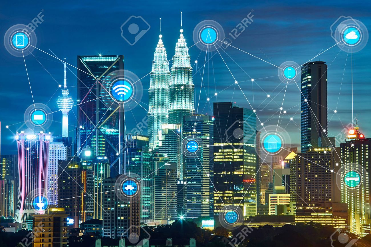 smart city and wireless communication network, abstract image visual, internet of things - 59063953