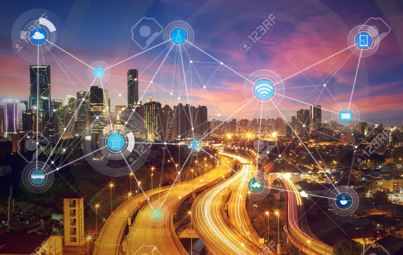 smart city and wireless communication network, abstract image visual, internet of things - 59064018