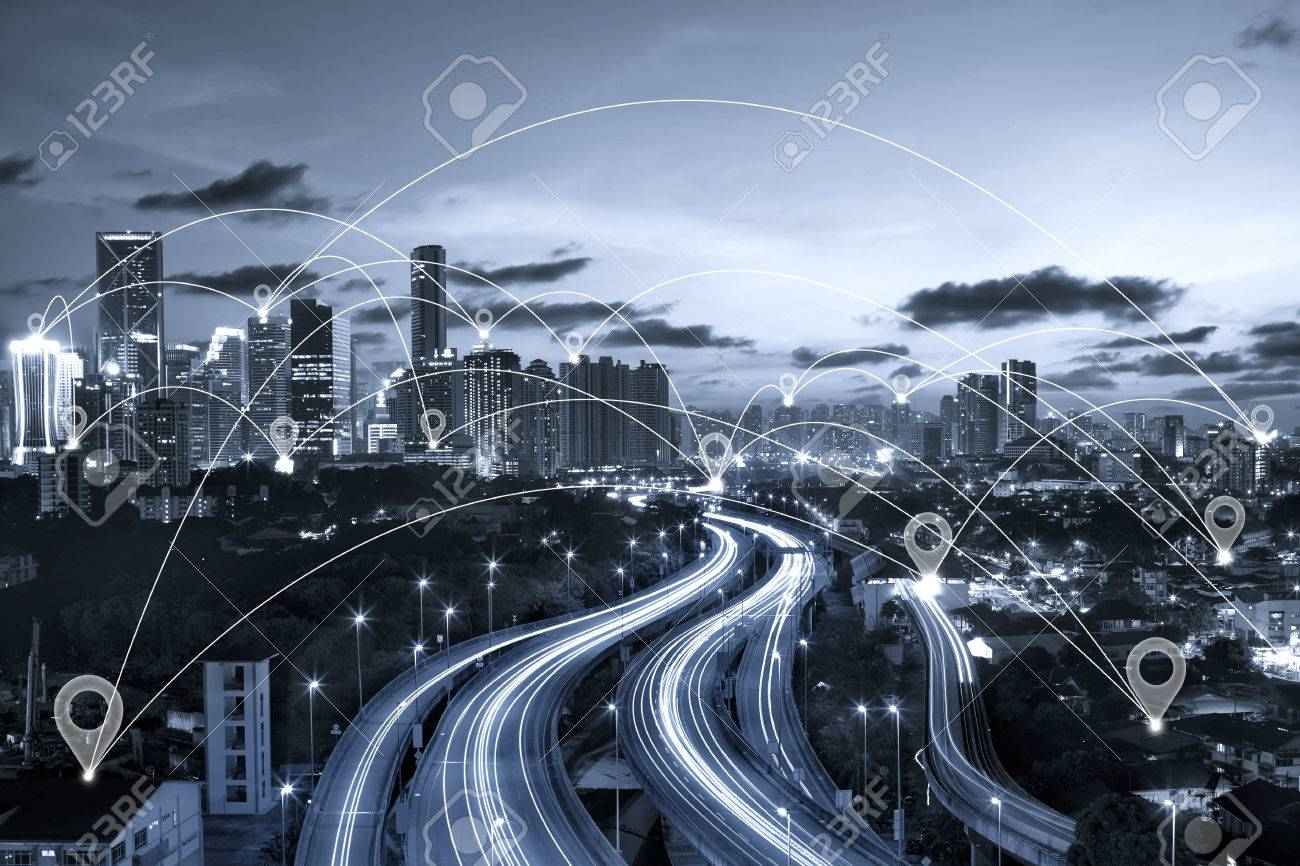 Map pin flat above blue tone city scape and network connection concept - 61866383