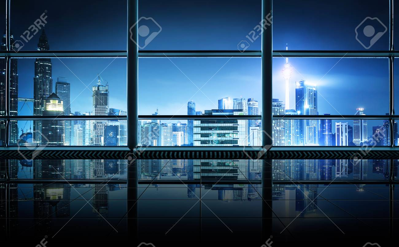 office glass windows. Fine Windows Modern Empty And Clean Office Interior With Glass Windows  Kuala Lumpur  City Skyline Background To Office Glass Windows