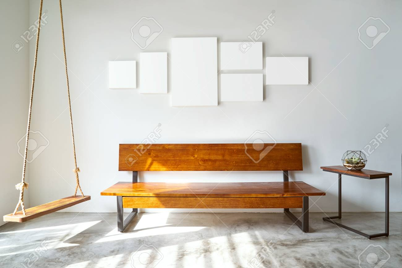 Modern Living Room With Wooden Bench Sofa Green Plant Wooden